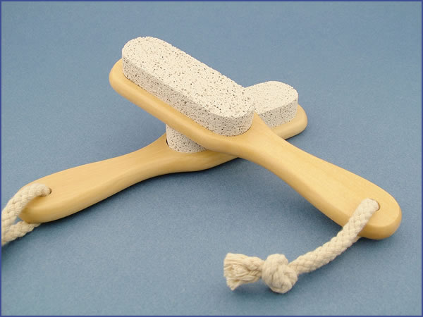 PUMICE STONE with Natural Wood Handle For Smoother Heel
